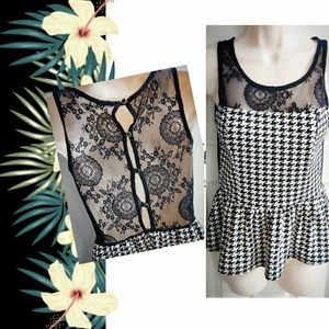 Houndstooth Peplum w/Sheer Lace Back